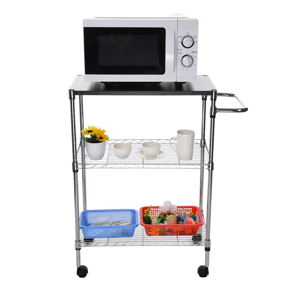 3 Storey Shelf Multi-Function Wheeled Wooden Cart Storage Rack Stainless Steel Rack, Shipped from US