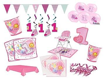 XXL Set Decoración Fiesta Primer Cumpleaños Niña Color Rosa ...