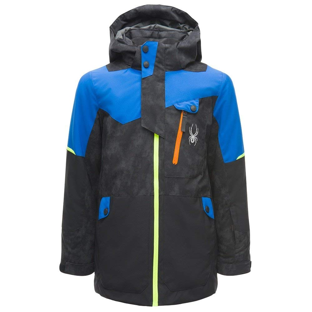 Spyder Kids Boy's Tordrillo Jacket (Big Kids) Cloudy Reflective Distress Black/Black/Turkish Sea 16