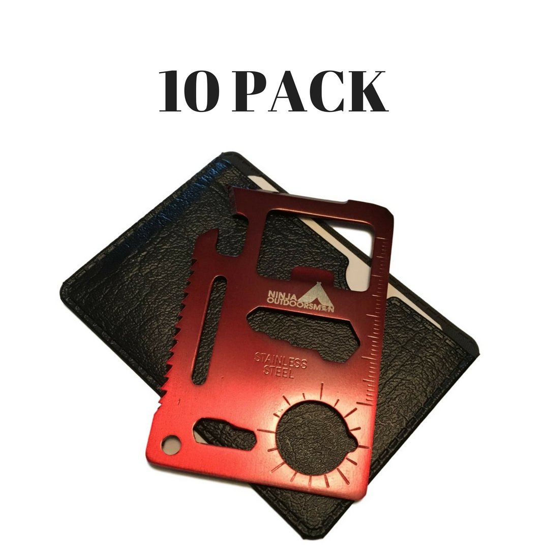 Ninja Outdoorsman 11 in 1 Stainless Steel Credit Card Pocket Sized Survival Multi tool (10 Pack, Red)