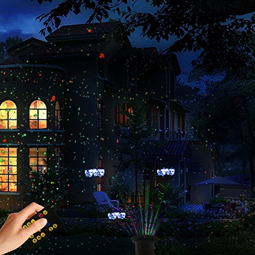 Laser Christmas Light with RF Remote Control,Red and Green Star Laser Show with Blue Background for Christmas, Holiday, Parties, Landscape, and Garden Decoration