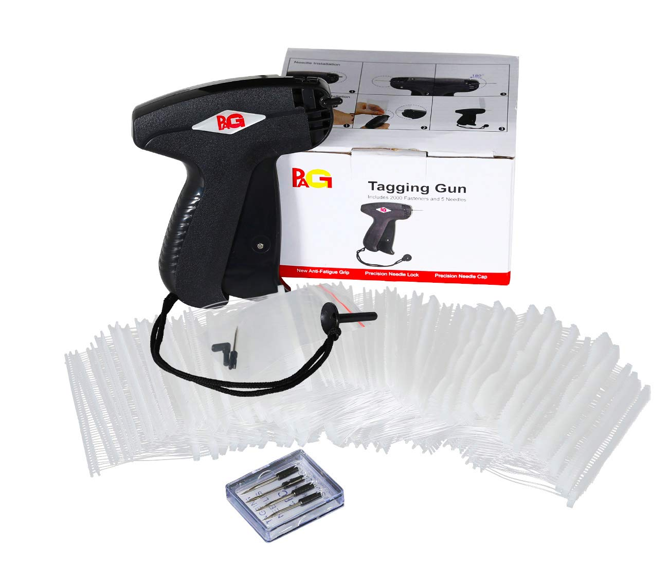 PAG Tagging Gun Price Tag Attacher Gun for Clothing with 5 Needles and 2000 Barbs Fasteners Black
