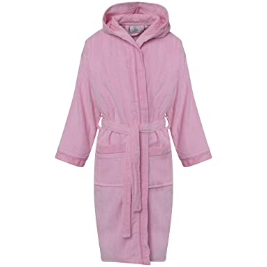 71677cffda GB Textiles Girls 12-14 Years Pink Luxury 100% Egyptian Cotton Hooded  Velour Terry Towelling Robe Dressing Bathrobe Gown  Amazon.co.uk  Clothing