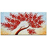 hotel artwork - Okbonn Texture 3D Canvas Wall Art For Living Room Office Hotel Red Tree Floral Oil Painting Hand Painted Stretched And Framed Artwork Palette Knife Picture Horizontal Home Decor (20X40 inch)