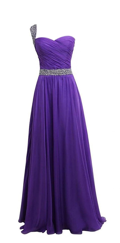 AngelDragon Women's Beaded One-Shoulder Chiffon Prom Gowns Evening Dress
