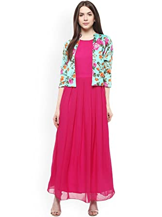 7e11a2ab32 Amazon.com  Athena Women Pink Solid Maxi Dress with Attached Jacket ...