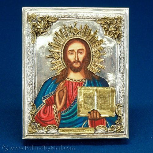 (Silver Plated Icon - Christ Pantocrator)