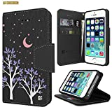 Iphone 5 Wallet Case, Iphone 5S Wallet Case, Premium 2-Layer Protection Slim Luxury PU Leather Folio Magnetic Flip Cover Wallet Phone Case With Built in Media Stand and Card Slots- Purple Night
