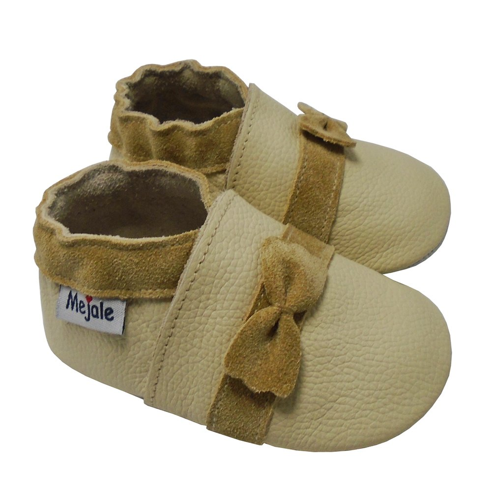 Mejale Baby Shoes Soft Sole Leather Moccasins Toddler First Walker Slippers with Sweet Bow