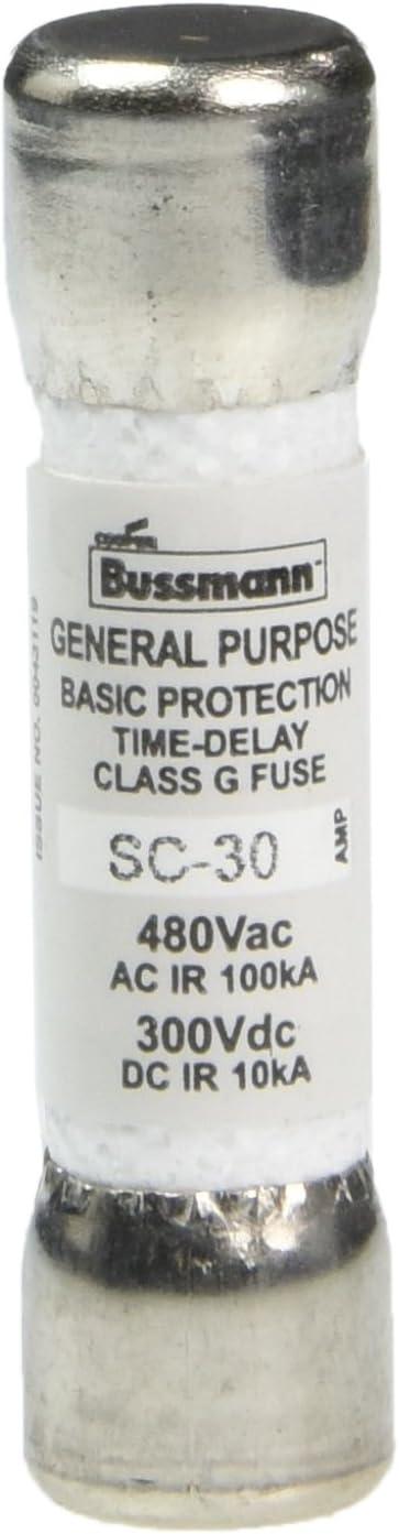 480 Vac//300 Vdc Bussmann SC-30 Cartridge Low Voltage Time Delay Fuse 30 A A Amp