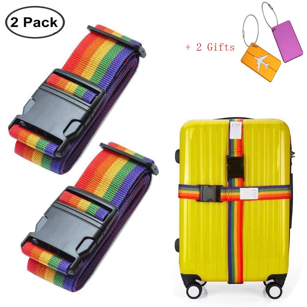 Willcome 2 Pack Adjustable Travel Luggage Straps Suitcase Belts 78 inches + 2 Luggage Tags for Gift