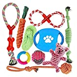 FONPOO Dog Toys For Aggressive Chewers By happy Chew Toys gifts Interesting Dog Interactive Toys 100% Safe Best for Small Medium Dogs 10 Pack include rope ball for Dog Gifts
