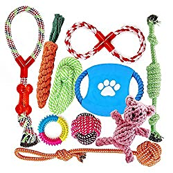 FONPOO Dog Toys Aggressive Chewers Happy Chew Toys Gifts Interesting Dog Interactive Toys 100% Safe Best Small Medium Dogs 10 Pack Include Rope Ball Dog Gifts