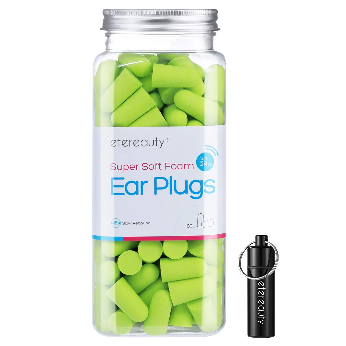 Etereauty Foam Earplugs 80 Pairs 32dB NRR Ear Plugs Soft Earplugs