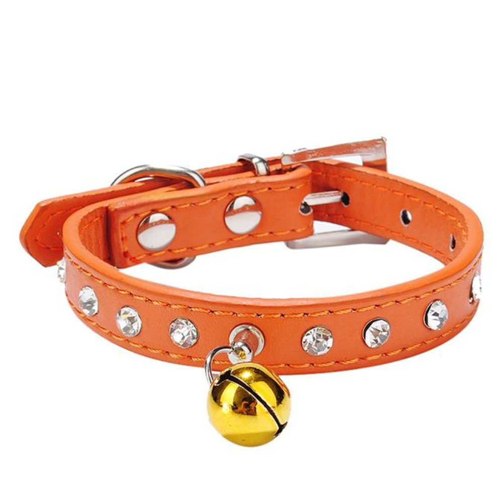 Pet collar,Pikolai Dog Collar Bling Crystal With Small Bell Necklace Pet Puppy Cat (S: 371.5cm, Orange)