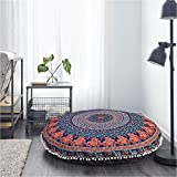 Elephant and Peacock Designs Large Round Pillow Cover Decorative Mandala Pillow Sham Indian Bohemian Ottoman Poufs Cover Pom Pom Pillow Cases Outdoor Cushion Cover