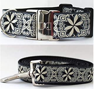 "product image for Diva-Dog 'Pinwheel Norway Winter' 2"" Extra Wide Large Dog Custom Collar with Plain or Engraved Buckle, Matching Leash Available"