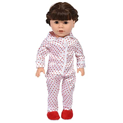 b0d5eda097 Image Unavailable. Image not available for. Color  18 Inch Doll Red Polka  Dot Satin Pajamas for Dolls with ...