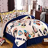 Japanese Anime Bedding Set 4pcs-Judy Dre am Home Textile Polyester Cartoon Chopper Duvet Cover Sets 4-piece One Piece Bed Set 4pcs Soft Breathable Bedding Sets for Boy Full Size