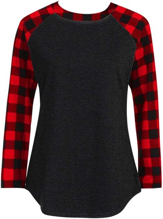 Women Tunic Tops Long Sleeve Round Neck Color Block Splice Plaid Shirt  Blouse (XXXXL d80192e7f