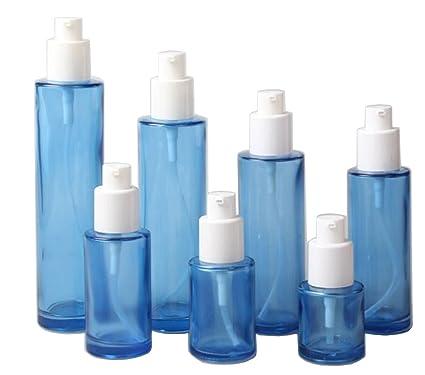 1 dispensador de loción, botella de cristal azul recargable para cuidado de la piel,
