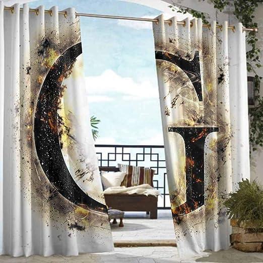 DILITECK - Cortina de pérgola con diseño de Letra F, Estilo gótico, Letra F, Letras Grandes, con Espiral, diseño Floral Vintage, para Patio/Porche Frontal, Color Negro, Gris y Blanco: Amazon.es: Jardín