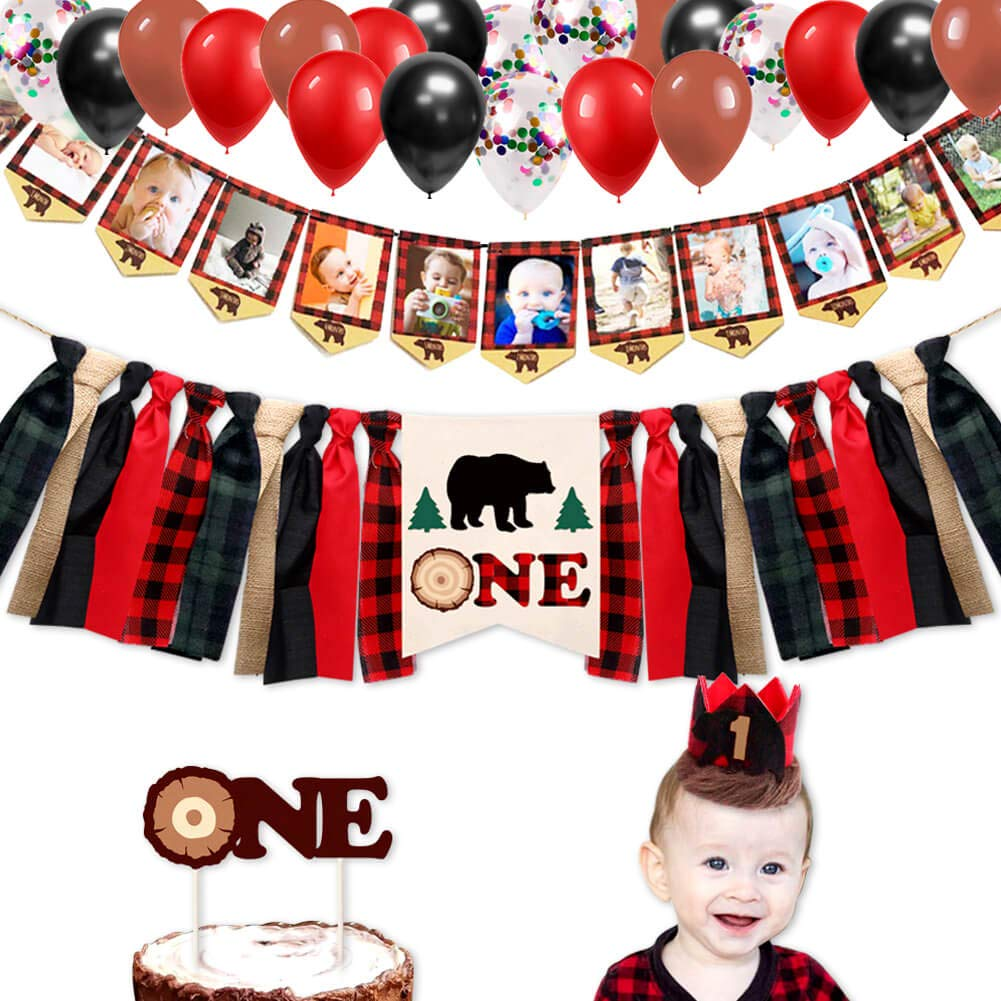 Lumberjack First Birthday Party Supplies Decorations - Buffalo Plaid Rustic Hunter High Chair Banner, Wild Bear Monthly Photo Banners, Camping Bear Cake Topper, Woodland One Crown, 12'' Letex Balloon by GoodYH
