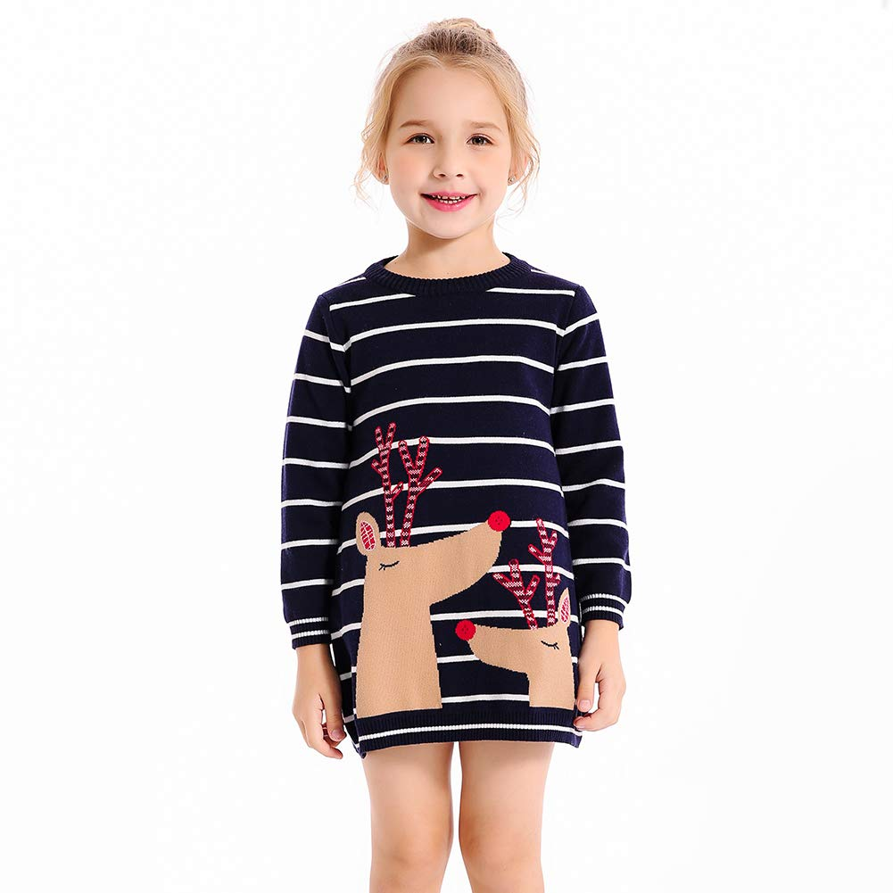 SMILING PINKER Little Girls Christmas Dress Reindeer Snowflake Xmas Gifts Winter Knit Sweater Dresses (4-5T, Navy Blue 2)