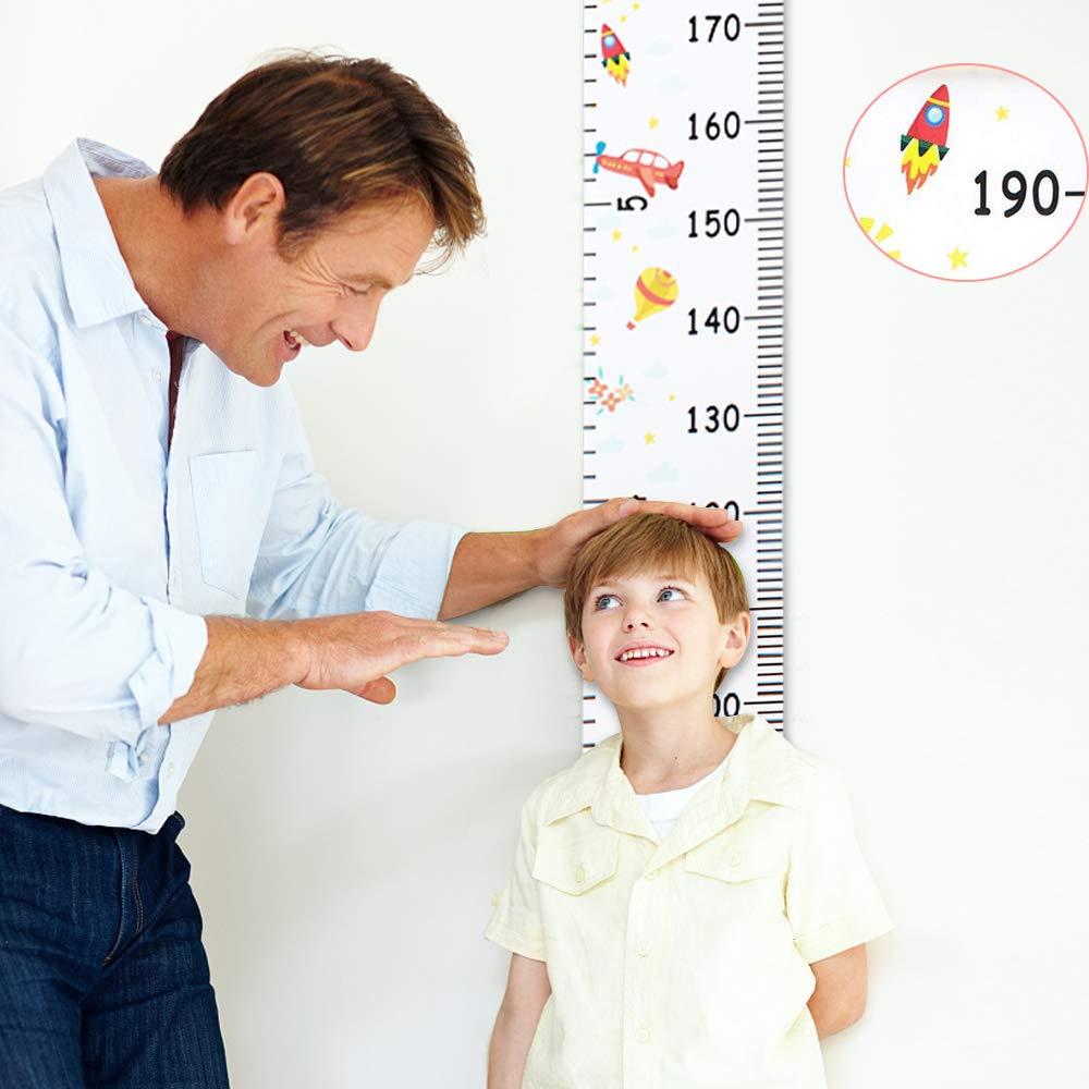 Messlatte Kinder Baby Wachstum Wall Chart H/öhe Diagramm Abnehmbar Baby Messtabelle Leinwand Holz Wandbehang Kinder Messtabelle f/ür Kinderzimmer Schlafzimmer Wanddekoration Rakete