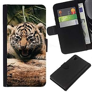 LECELL--Cuero de la tarjeta la carpeta del tirón Smartphone Slots Protección Holder For Sony Xperia Z1 L39 -- Tigre lindo bebé --