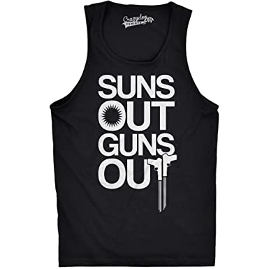 abd9b6aeed6abf Mens Suns Out Guns Out Tank Funny Workout Tanks Hilarious Gym Shirt (Black)  S