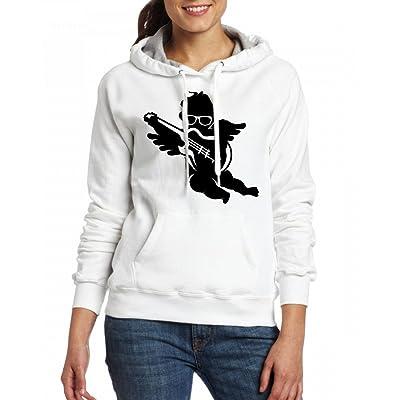 A cherub with cool glasses and an electric guitar Womens Hoodie Fleece Custom Sweartshirts