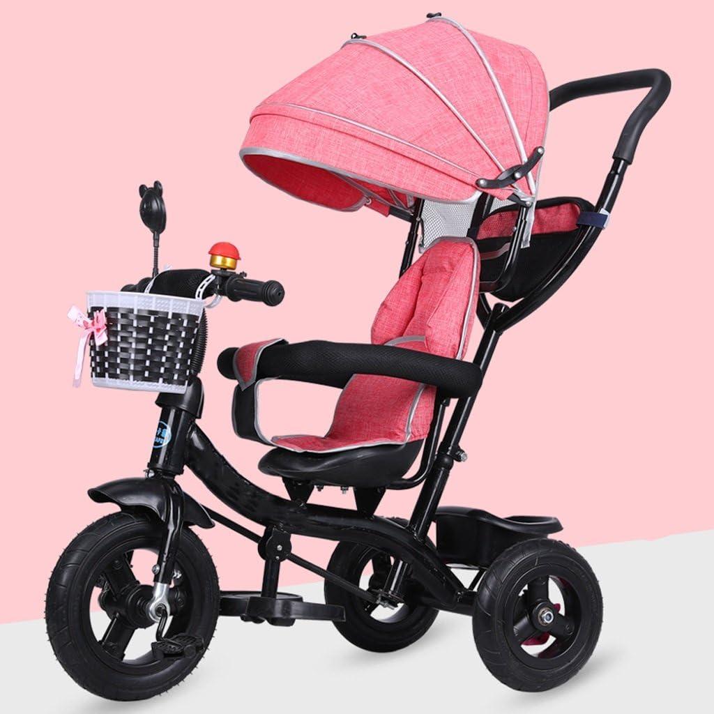 ベビー ファッションサンシェードカーボンスチール素材子供の三輪車、大型ストレージ折りたたみフットペダルベビーベビーカー、取り外し可能な高さ調節可能なプッシュハンドルチャイルドペダルTrike自転車自転車 ベビーカー (Color : Pink)