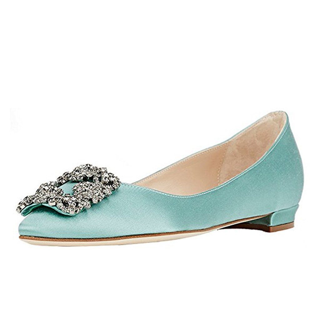Comfity Women's Jewel-embellished Shoes Pointed Toe Ballet Low Heels Slip On Flats B06Y689KCB 12 B(M) US|Sky Blue