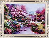 Aureate Handmade Silk Ribbon Embroidery Kits Canvas 3D Wall Art Home Decoration DIY Needlepoint Tapestry Hanging Gift Cherry Blossom 20''×24''