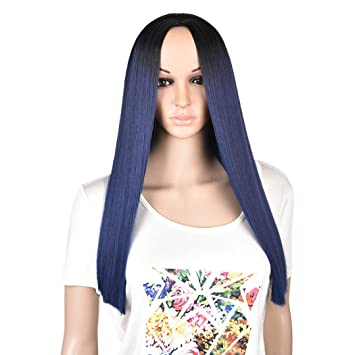 Lareallee Long Straight Hair Wigs for Women 22 quot  Ombre Dark Blue Wig  Synthetic Colorful Cosplay 4044217e29
