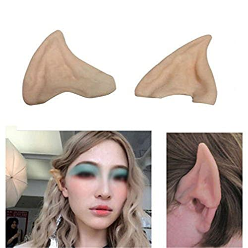 Dealglad® Latex Fairy Pixie Elf Fake Ears Cosplay Accessories LARP Halloween Party Soft Pointed Prosthetic Tips Ear