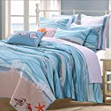 Coastal Seaside Cottage Quilt Set with Shams Sea Shell Print Pattern Ocean Blue 100 Cotton Luxury Reversible 3 Piece Double Full Queen Size Bedding - Includes Bed Sheet Straps