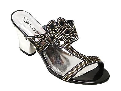 dbc881ae6aa6a Lasonia S7751 Women s Comfortable Open Toe Floral Glitter T-Strap with  Rhinestones Decor Chunky Heel