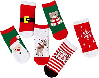 Injoy Clothes Kids Christmas Socks Boys Girls Toddlers Baby Gift Holiday Cotton Winter Warm Thick Cartoon Crew Socks