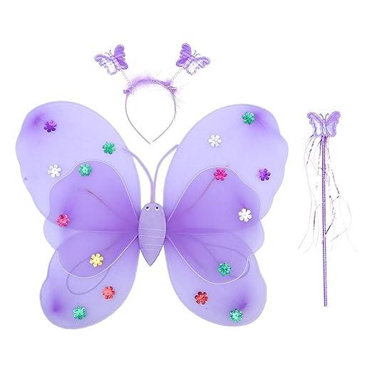 Amosfun 3 Piezas Disfraz de Mariposa de Niñas Alas de Mariposa de ...