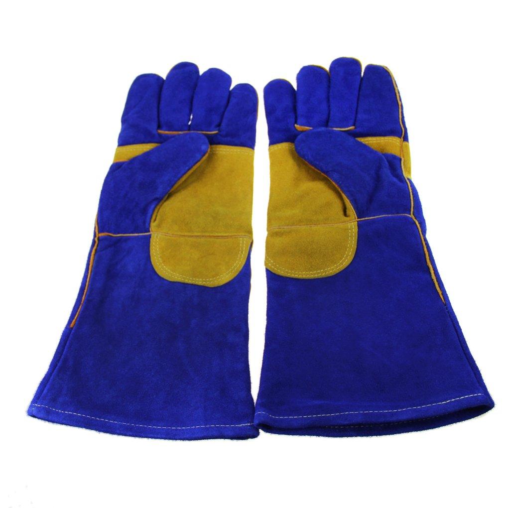 Guantes de soldar, guantes de manoplas de soldador, diseño de alta temperatura Barbacoa Estufa largo con forro guantes de soldador Fuego de leña Guantes de ...