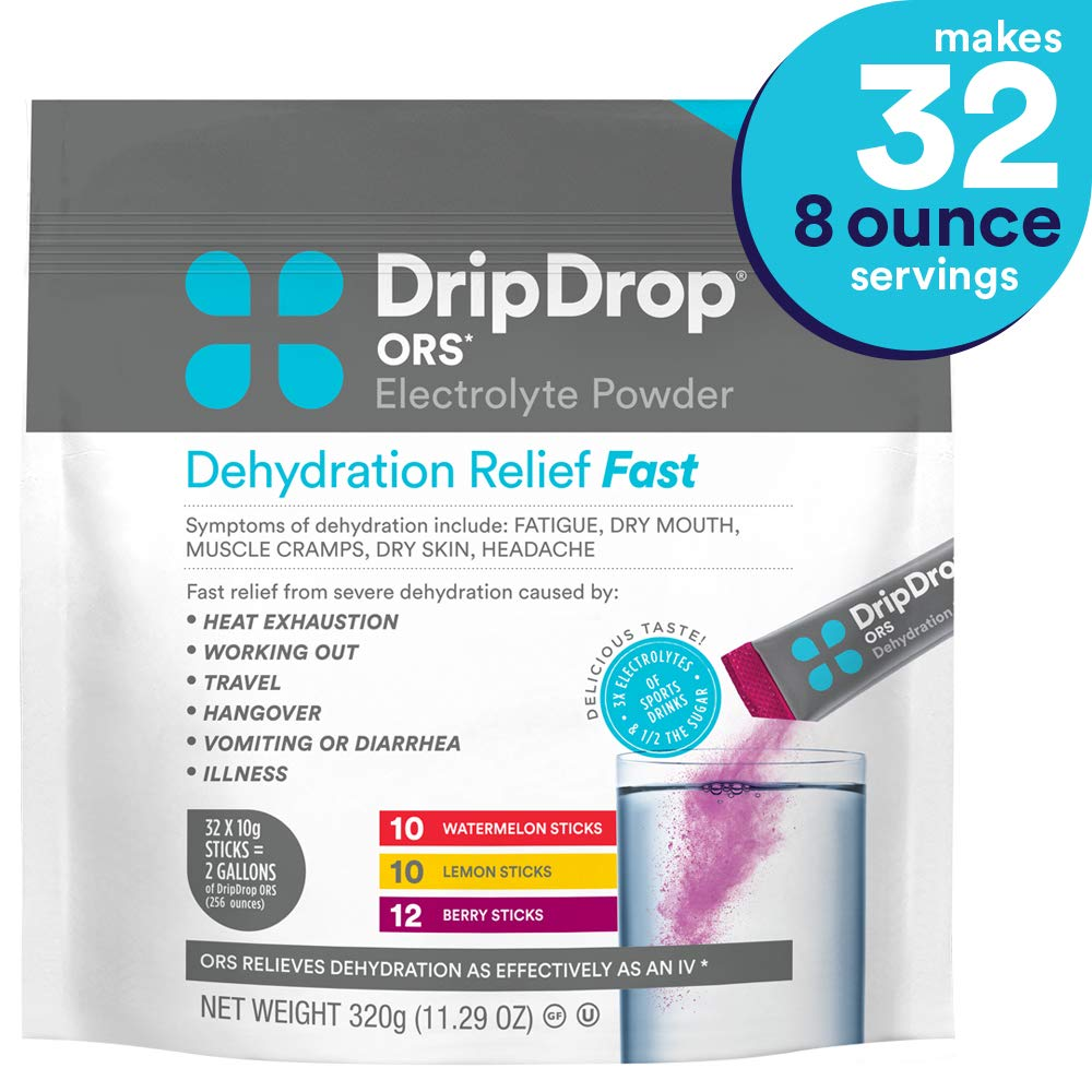 DripDrop Ors - Patented Electrolyte Powder for Dehydration Relief fast - For Hangover, Heat Exhaustion, Illness, Sweating & Travel Recovery, Watermelon, Berry, Lemon Flavor, Makes (32) 8oz Servings by DripDrop