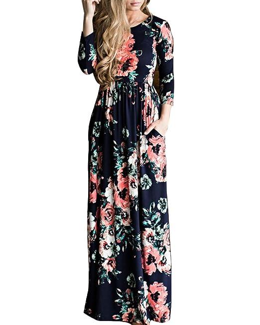 vestidos de mujer manga larga bohemio Verano moda floral Vestido de playa maxi barato: Amazon.es: Ropa y accesorios