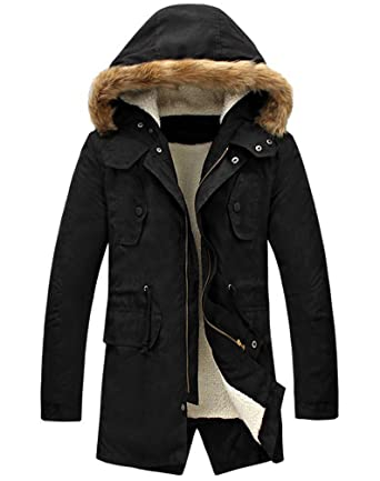 Black parka coat with black fur hood