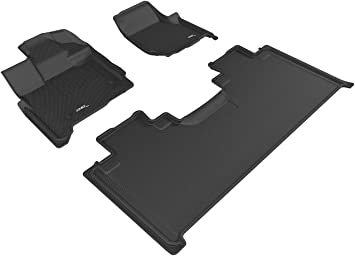 3D MAXpider Complete Set Custom Fit All-Weather Floor Mat for Select Ford F-150 SuperCab Models L1FR10101509 Kagu Rubber Black