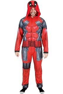Deadpool Adult Union Suit Costume Pajama Onesie With Hood