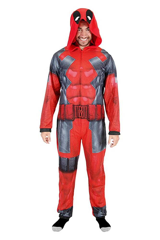 Deadpool Adult Union Suit Costume Pajama Onesie With Hood Briefly Stated