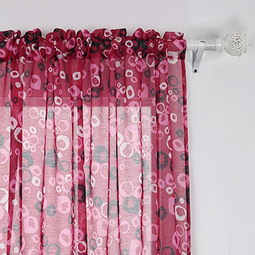 Voile Circle - Deconovo Rod Pocket Bubbles Circle Printed Voile Curtains Window Curtains for Nursery 42x63 Pink and Rose One Pair