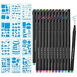 MORSLER 12 Stencils and 24 Fineliner Colored Pens for Journal, Planner Supplies Markers DIY Drawing Templates On Scrapbook Notebook Diary Lettering, Office/Art Supplies, Plastic Planner Kit